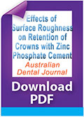 The effects of surface roughness and surface area on the retention of crowns luted with zinc phosphate cement